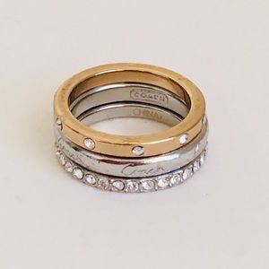 Coach 3 Stackable Ring Set Gold Silver Toned Sz 6